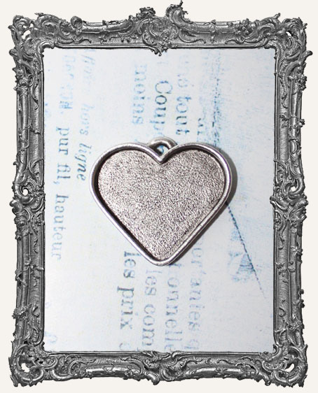 Deep Well LARGE HEART Pendant Blank ANTIQUE SILVER