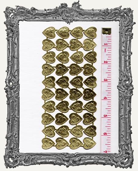 German Dresden Gold Flower Heart 40 Piece