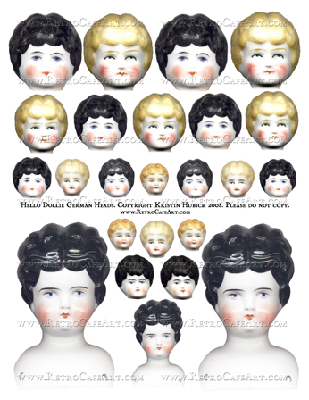 Hello Dollie German Doll Heads Collage Sheet