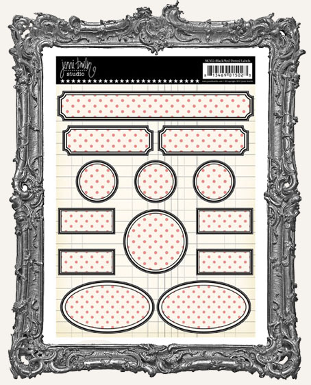 Jenni Bowlin Studio Dotted Label Stickers - Black and Red