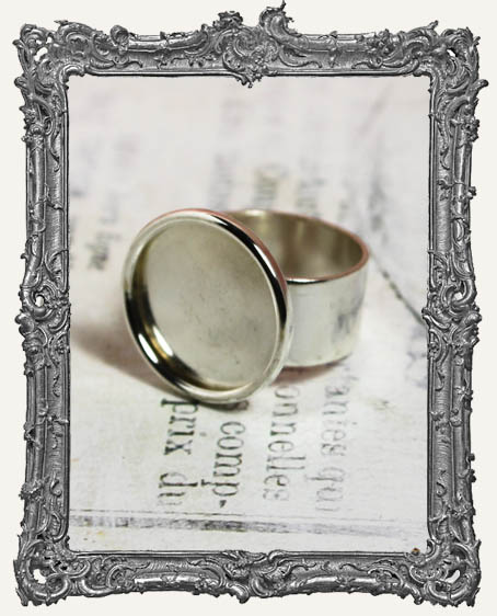 Shallow Welled LARGE CIRCLE Adjustable Ring Blank STERLING SILVER Overlay