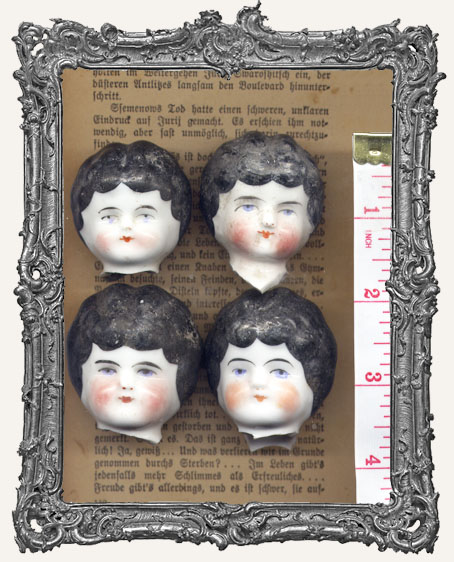 One Antique Hand-painted China German Doll Head BLACK Hair LARGE 1.5 - 1.75 Inch