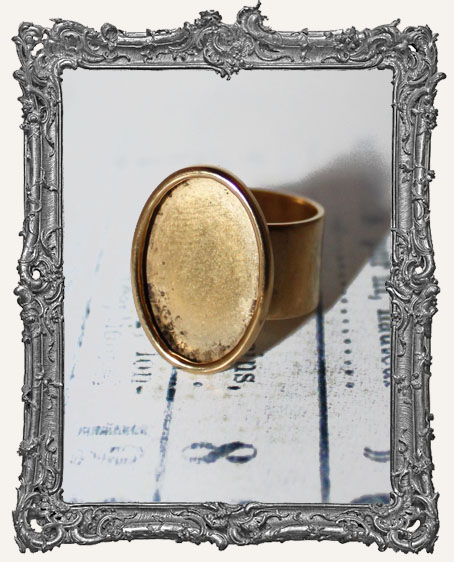 Shallow Welled LARGE OVAL Adjustable Ring Blank ANTIQUE GOLD Overlay