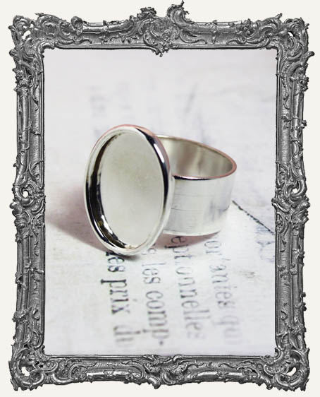 Shallow Welled LARGE OVAL Adjustable Ring Blank STERLING SILVER Overlay