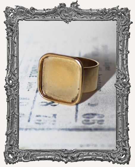 Shallow Welled LARGE SQUARE Adjustable Ring Blank ANTIQUE GOLD