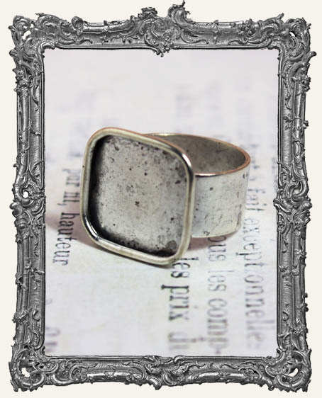 Shallow Welled LARGE SQUARE Adjustable Ring Blank ANTIQUE SILVER