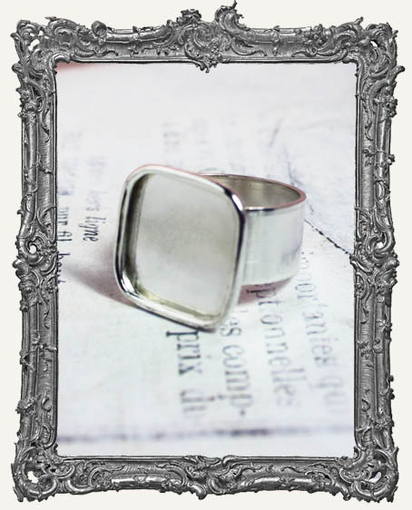 Shallow Welled LARGE SQUARE Adjustable Ring Blank STERLING SILVER Overlay