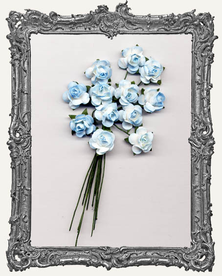 Light Blue Mini Paper Roses - 12