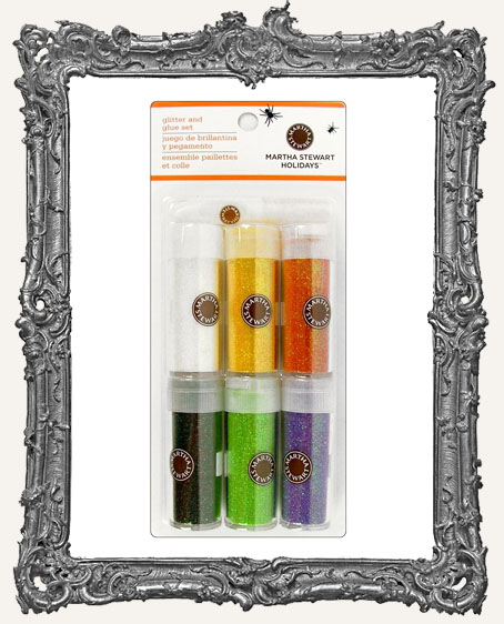 Martha Stewart Glitter Set with Glue Halloween Iridescent 6pk