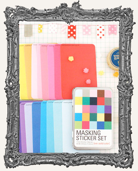 Masking Sticker Set with Tin Case - Ver. Solid