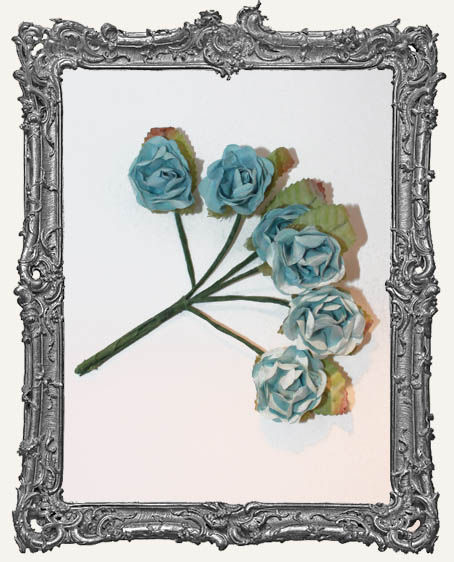 MEDIUM Mini Paper Roses - Light Vintage Blue