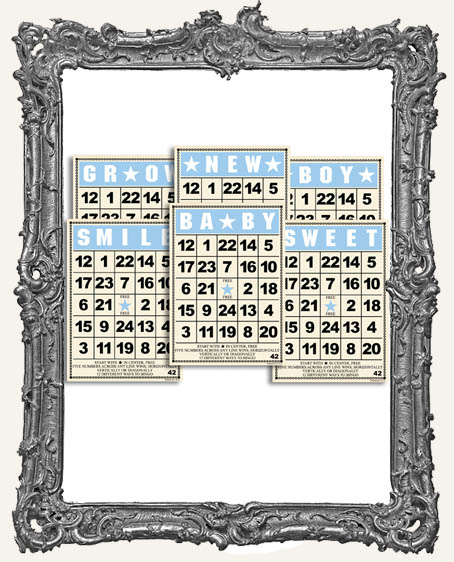 Jenni Bowlin Studio MINI Bingo Cards 2.5 x 3.5 Inch BABY BOY SET - 6
