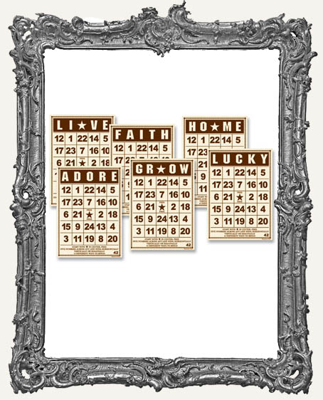 Jenni Bowlin Studio MINI Bingo Cards 2.5 x 3.5 Inch BROWN - 6
