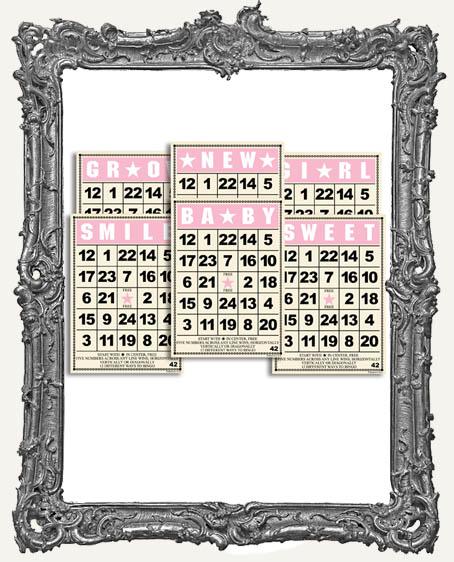 Jenni Bowlin Studio MINI Bingo Cards 2.5 x 3.5 Inch BABY GIRL SET - 6