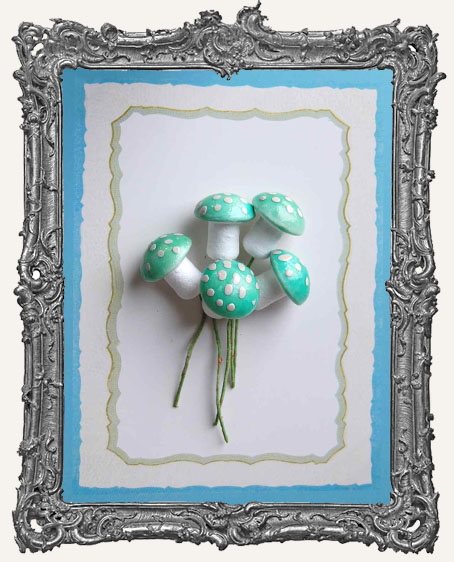 18mm German Cotton Spun Fairy Mushrooms AQUA - 6