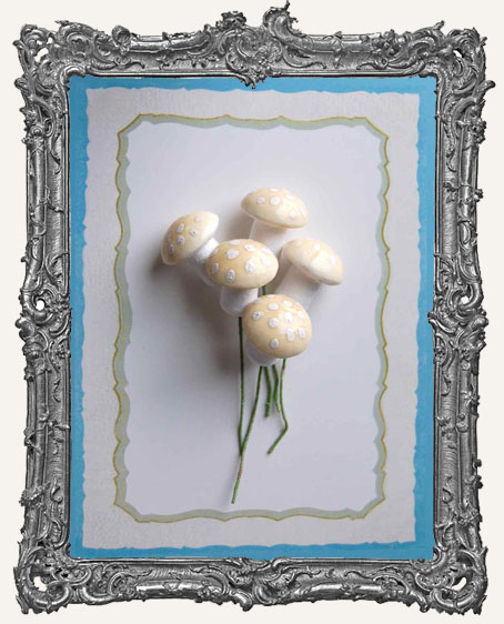 18mm German Cotton Spun Fairy Mushrooms CREAM - 6