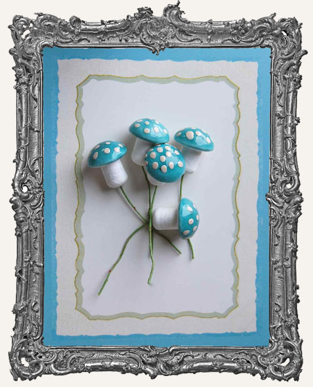 18mm German Cotton Spun Fairy Mushrooms LIGHT BLUE - 6