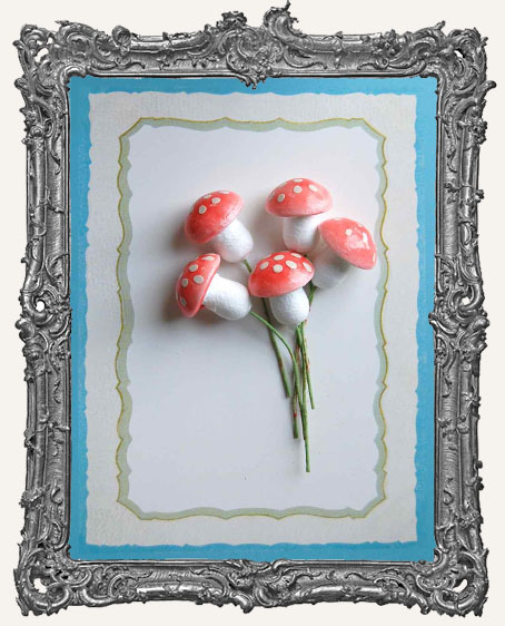 18mm German Cotton Spun Fairy Mushrooms PINK - 6
