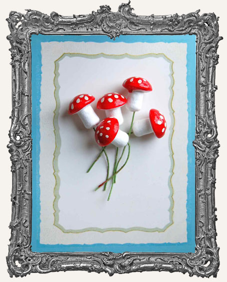18mm German Cotton Spun Fairy Mushrooms RED - 6