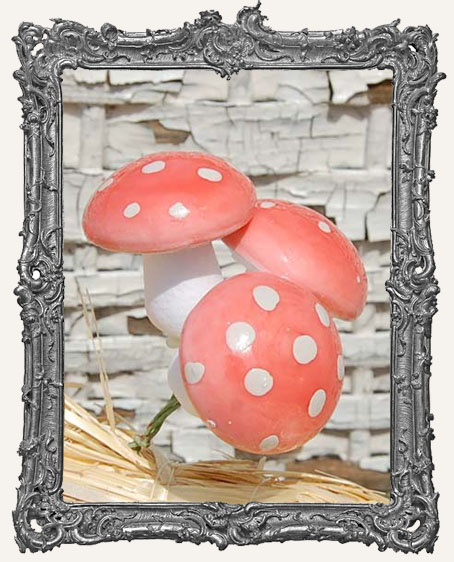 30mm German Cotton Spun Fairy Mushrooms PINK - 6