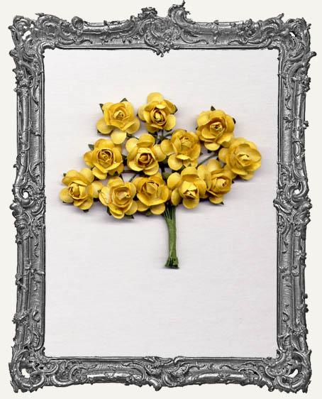 Mustard Yellow Paper Roses - 12