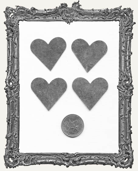 Natural Tin Silver 1.5 Inch HEARTS PACK OF 4