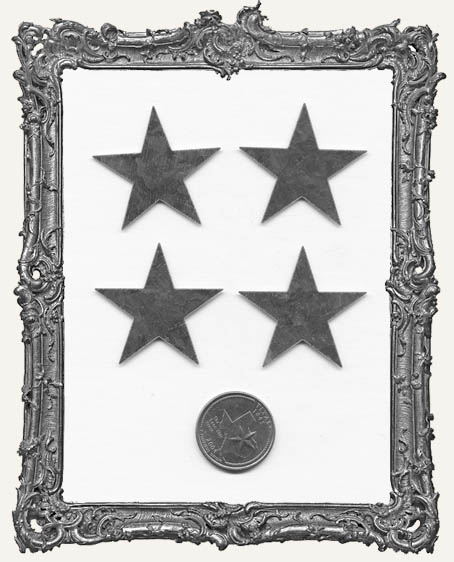 Natural Tin Silver 1.5 Inch Stars PACK OF 4