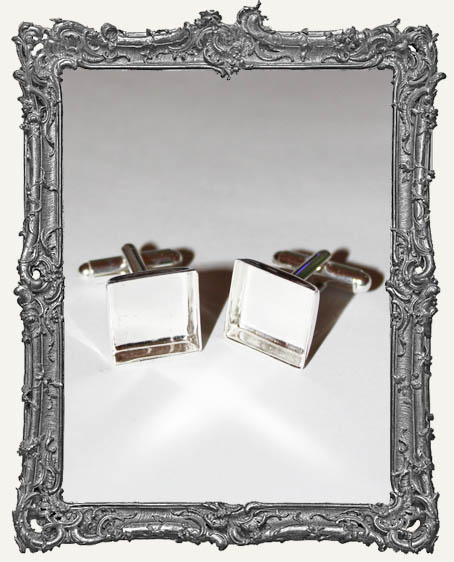 Silver Overlay Deep Welled CUFFLINK Blanks Square Bezel