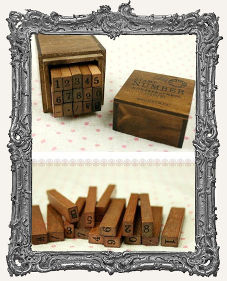 Wood Mounted Rubber Stamp Box Set - Numbers