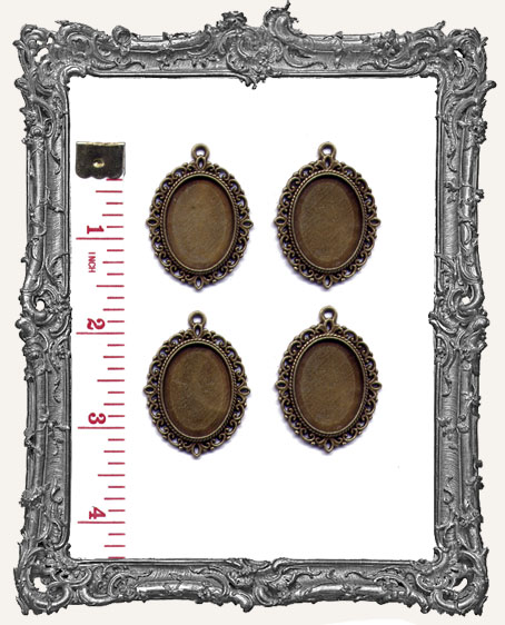 Ornate ANTIQUE BRONZE or ANTIQUE SILVER 25x18 mm Bezel Setting WITH CHARM LOOP - Set of 4