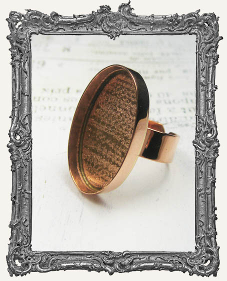 COPPER Deep Welled Ring Blank Bezel Adjustable OVAL