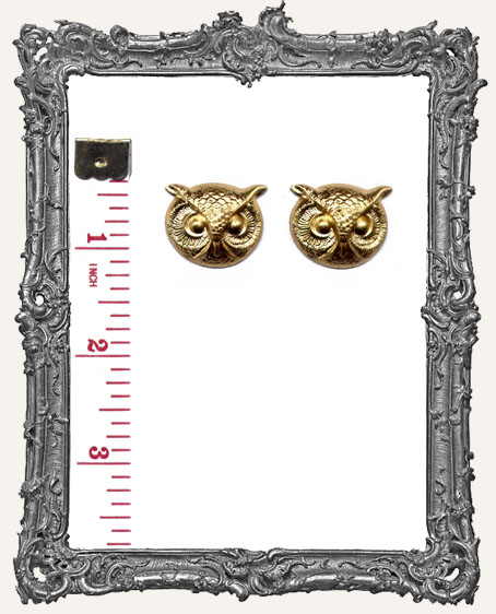 Brass Owl Heads - Set of 2