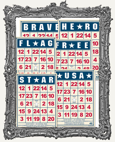 Jenni Bowlin Studio Bingo Cards 5 x 7 Inch PATRIOTIC - 6