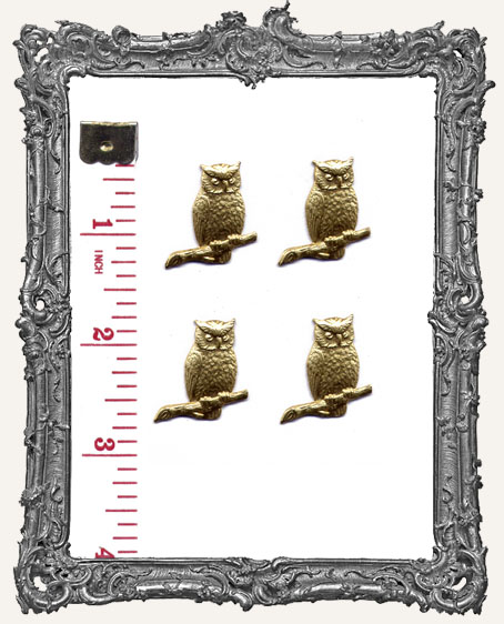 Brass Perched Owls - Set of 4