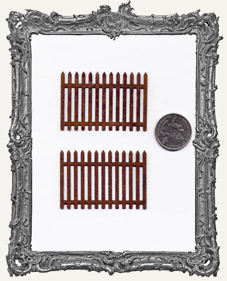 Small Rusty Picket Fence 2 Inch PACK OF 2