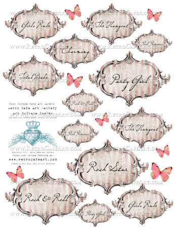 Pink Striped Word Labels
