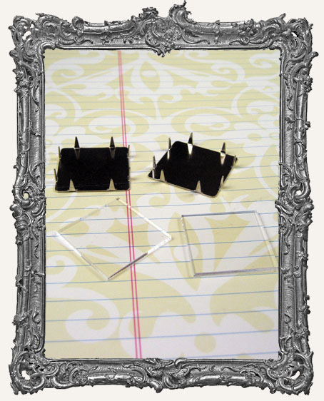 1 Inch INCHIE FRAME Prong Frames Metal and Clear Acrylic SET OF 2