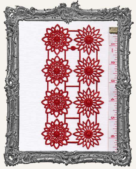 German Dresden RED Rosettes 8 Piece