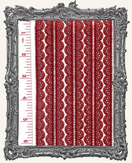 German Dresden Border Fancy Scalloped RED 10 Strips