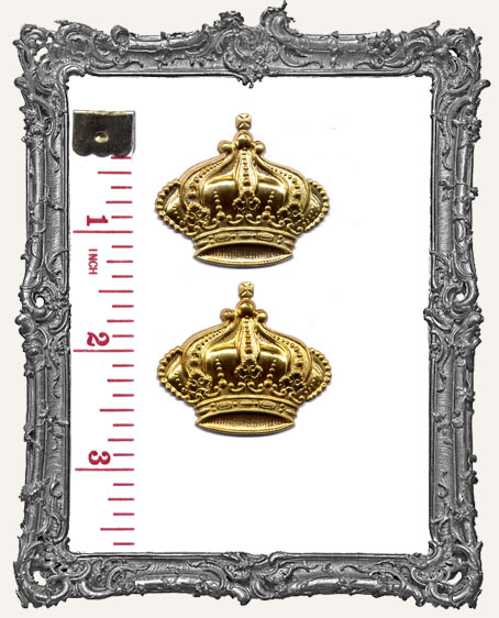 Large Brass Regal Crowns - Set of 2