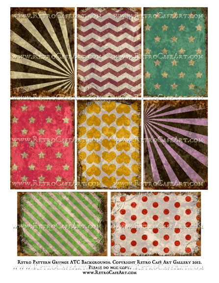 Retro Pattern Grunge ATC Backgrounds Collage Sheet