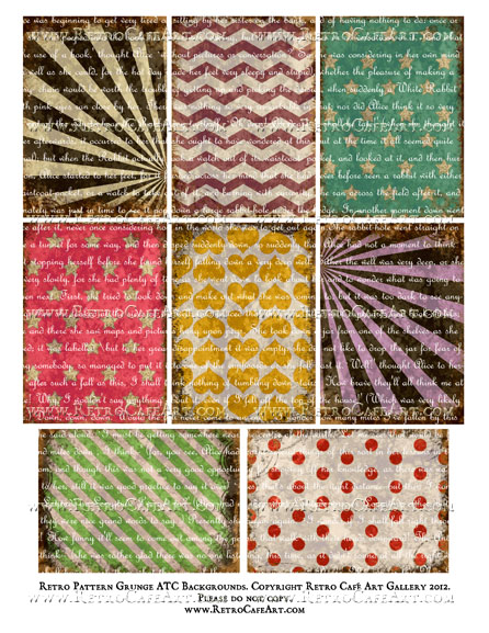 Retro Pattern Grunge ATC Backgrounds With LIGHT SCRIPT Collage Sheet