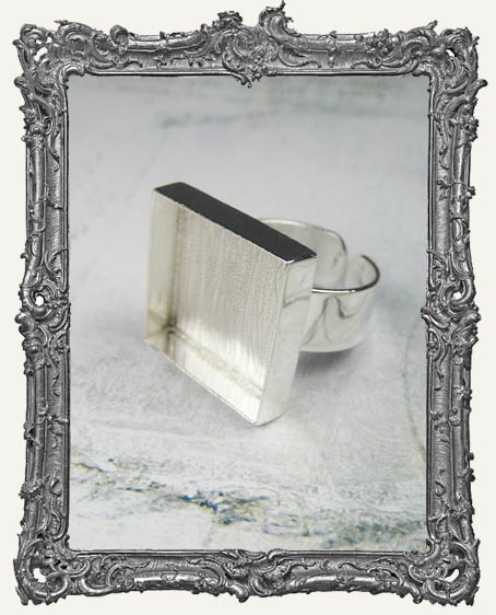 Silver Overlay Deep Welled Ring Blank Bezel Adjustable SQUARE