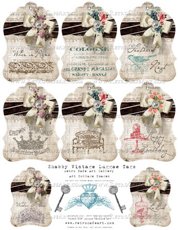 Shabby Vintage Luggage Tags