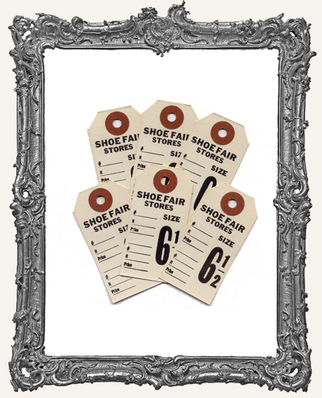 Vintage Shoe Tags Set of 6 - Cream