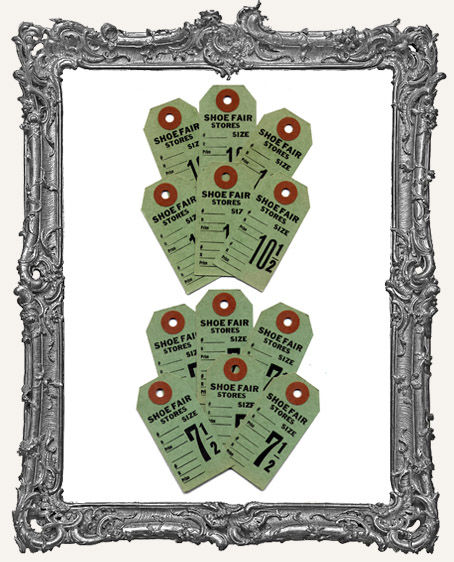 Vintage Shoe Tags Set of 6 - Green