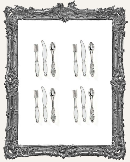 Mini Metal 1 Inch Silverware Set - 12 Pieces