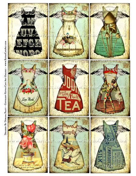 Vintage Dresses ATC Size Collage Sheet by Debrina Pratt - DP323