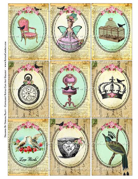 Vintage Delights ATC Size Collage Sheet by Debrina Pratt - DP325