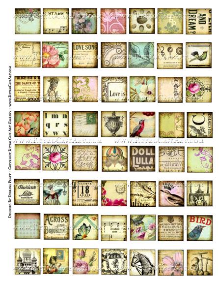 1 Inch Vintage Squares Collage Sheet by Debrina Pratt - DP327